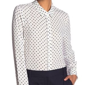 Laundry Polka Dot Button Down Blouse (Size L)